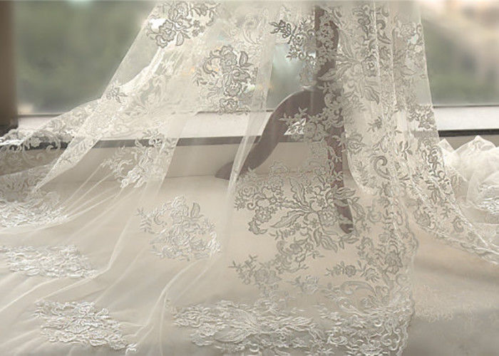 White Tulle Corded Bridal Stretch Lace Fabric , Floral Embroidered Wedding Dress Lace Fabric