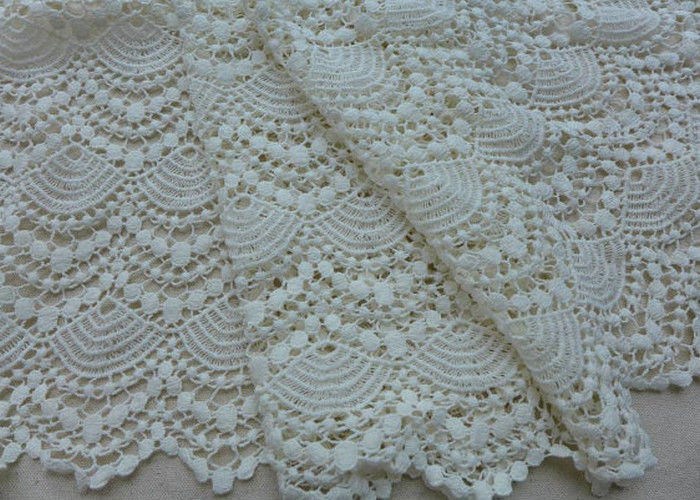 Vintage French Crocheted Cotton Lace Fabric Scalloped Edge Hollow Out Ivory Dots