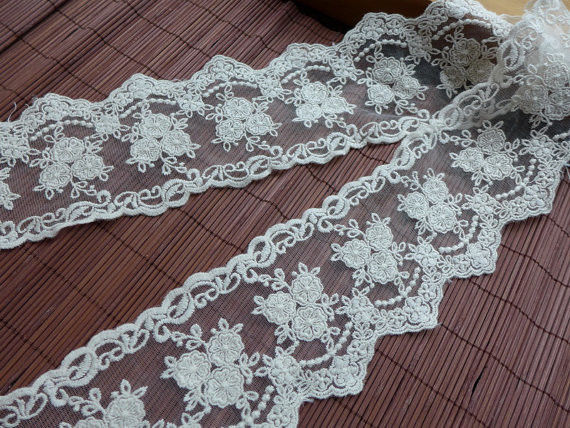 9CM Stretch Flower Cream Lace Ribbon , Wedding Dress Embroidered Lace Trim