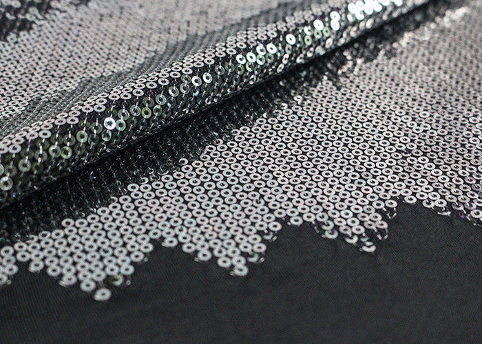 Embroidered Mesh Lace Fabric With Silver Sequin , Bridal Lace Fabric By The Yard