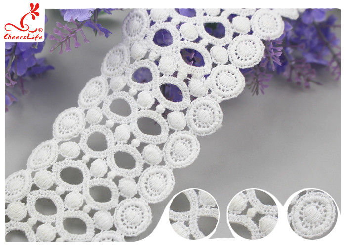 Circle Embroidery Water Soluble Lace With 100% Cotton / Ladder Lace Trim