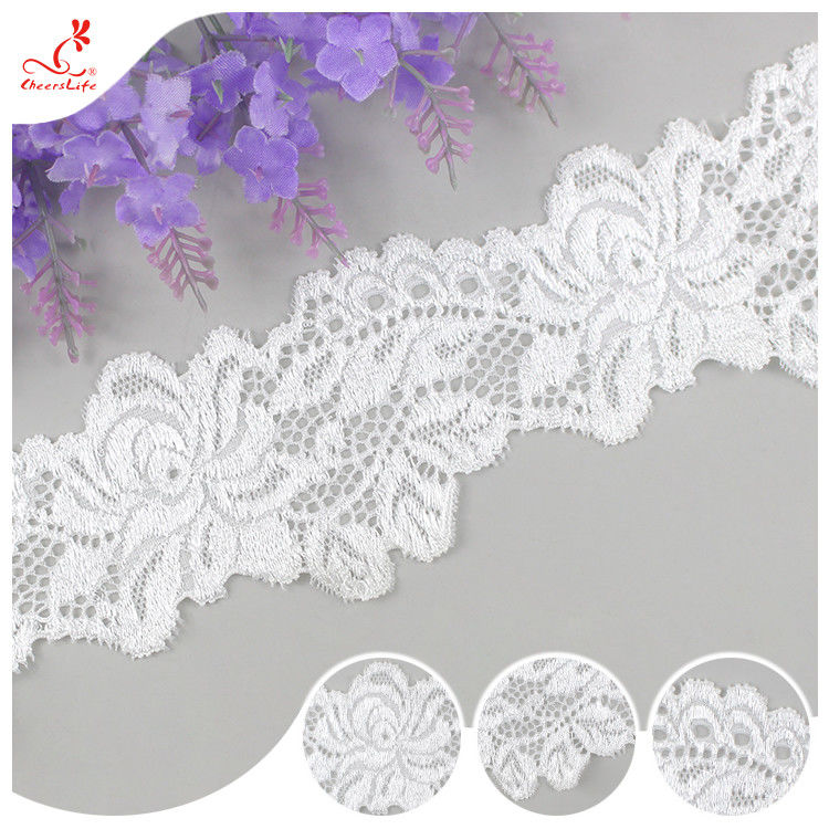 White Flower 2CM Water Soluble Lace Trim For Apparel , Handicraft